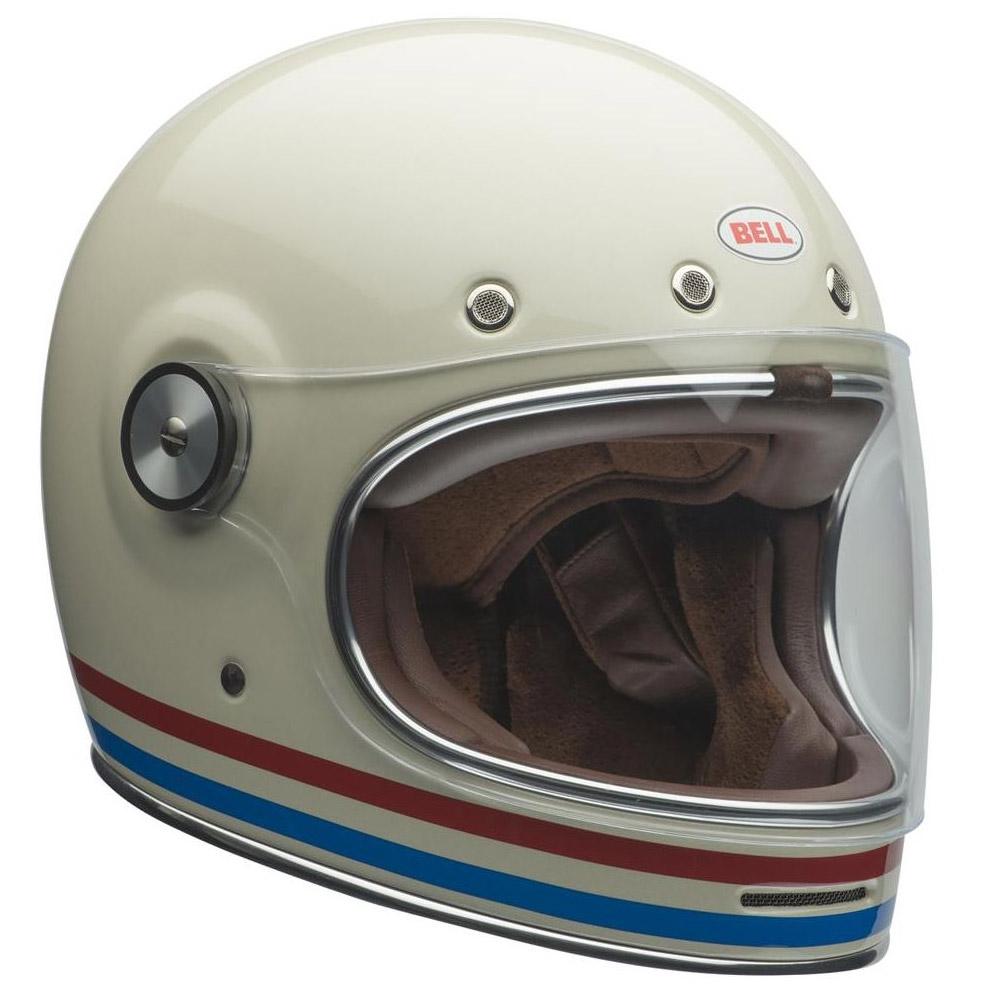 Bell Bullitt Dlx Streifen Vintage Helm Weiß