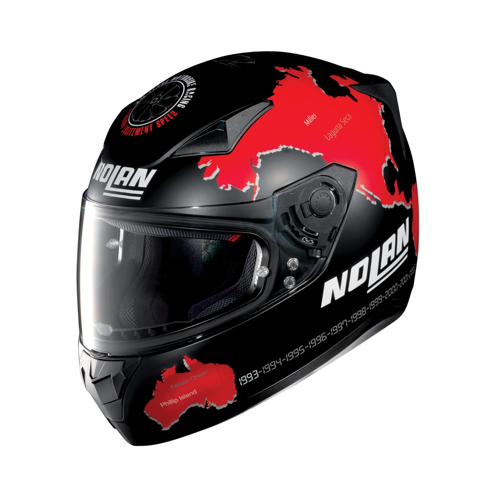 Nolan N60.5 Gemini Replica Checa Full Face Helmet Flat Black Red
