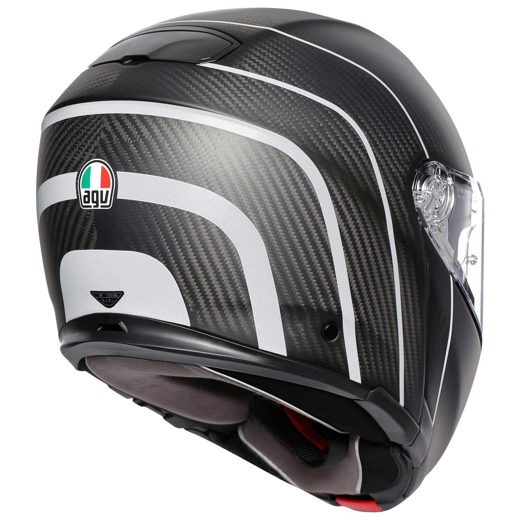 Agv Sportmodular Refractive Helmet Carbon Silver Ag 1201a2iy 009 Modular Helmets Motostorm