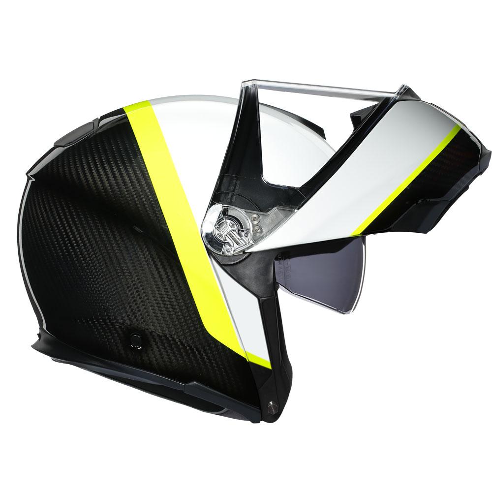 Agv Sportmodular Ray Carbon White Yellow Fluo Ag 1201a2iy 010 Modular Helmets Motostorm