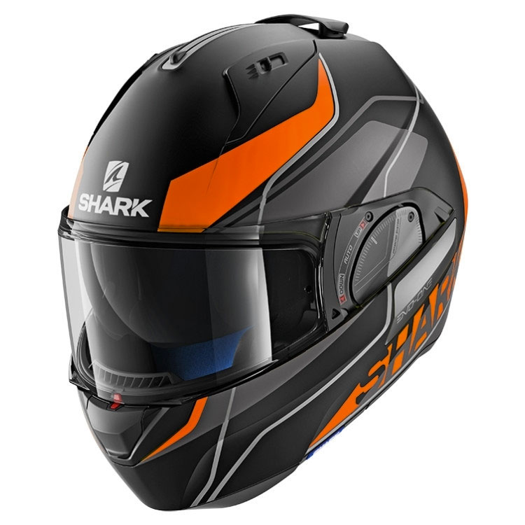 shark evo one 2 krono matt black orange he9709ekow modular helmets motostorm. Black Bedroom Furniture Sets. Home Design Ideas