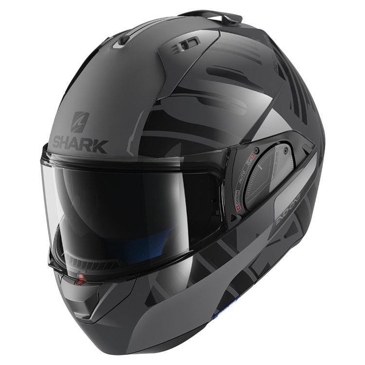 shark evo one 2 lithion grey he9704eaka modular helmets motostorm. Black Bedroom Furniture Sets. Home Design Ideas