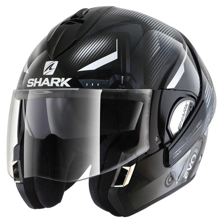 shark evoline serie 3 shazer black white he9353ekww modular helmets motostorm. Black Bedroom Furniture Sets. Home Design Ideas