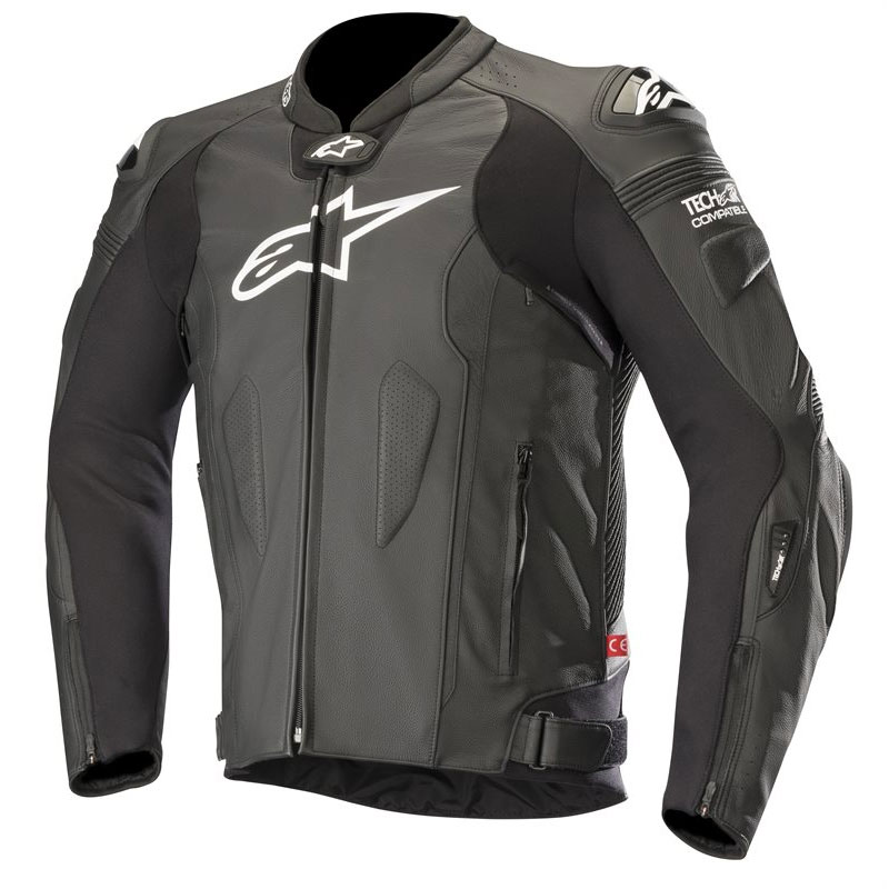 alpinestars missile leather jacket tech air compatible black motostorm. Black Bedroom Furniture Sets. Home Design Ideas