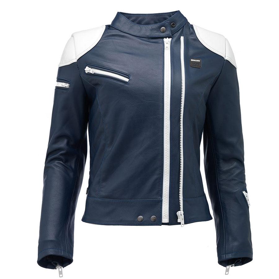 buy online 20f8f 4bee8 Giacca Pelle Donna Blauer Charlie Blu Bianco