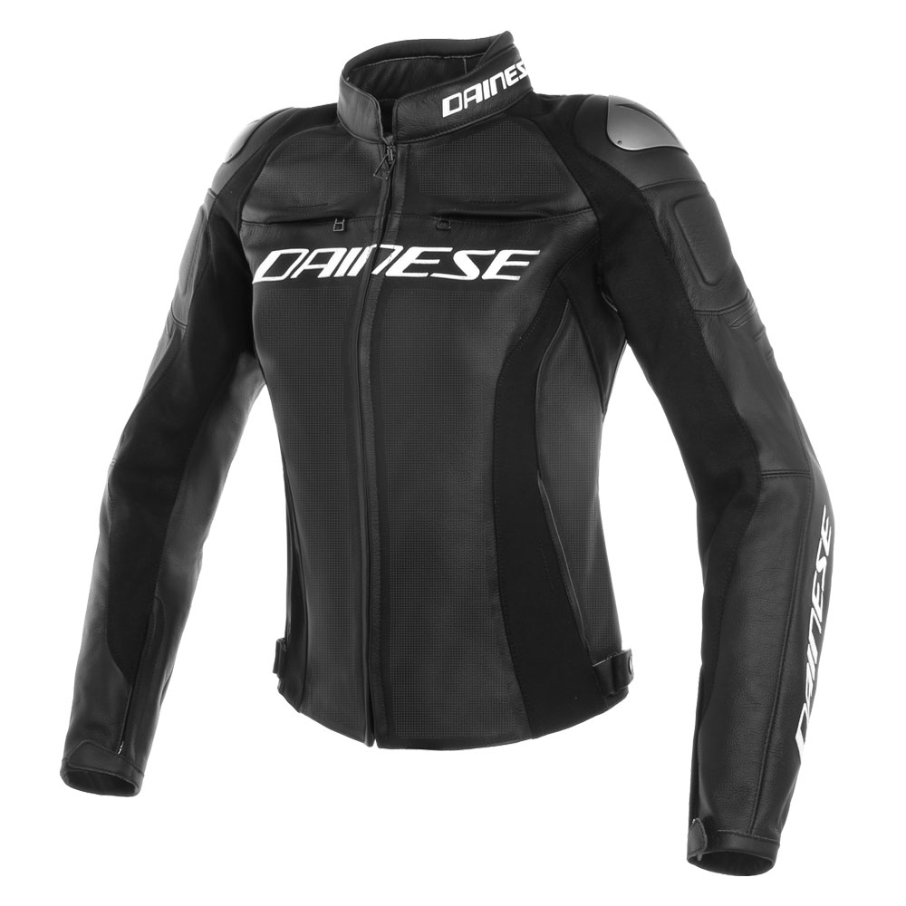Dainese Racing 3 Perforated Lady Lederjacke Schwarz