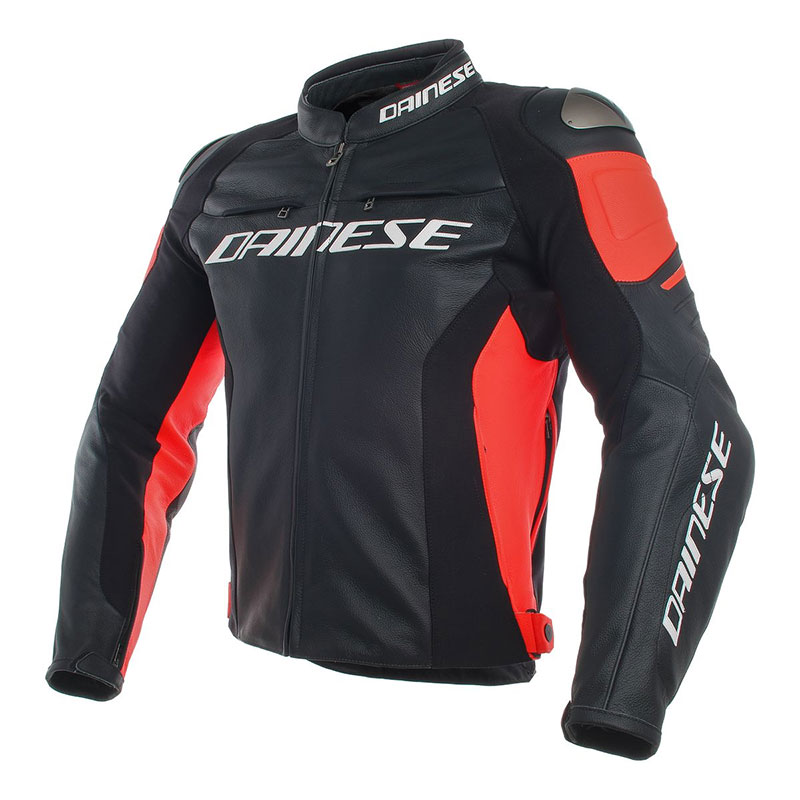 Dainese Racing 3 Perforated Leather Jacket Black Red