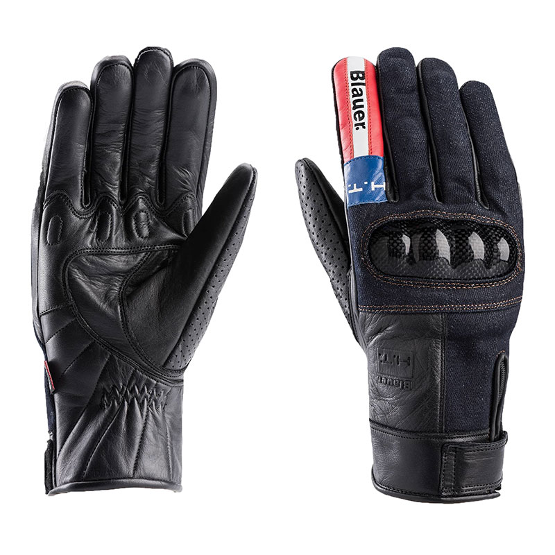 Blauer Combo Carbon Denim USA Lederhandschuhe
