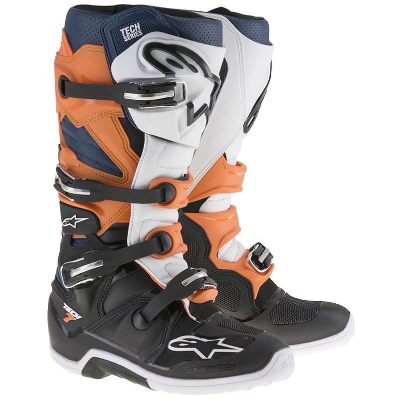 ALPINESTARS TECH 7 Stiefel orange-schwarz-weiß-blau