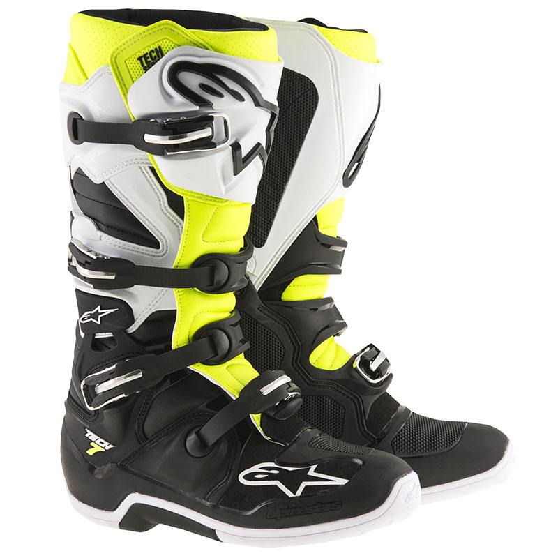 Alpinestars Tech 7 Stiefel Weiß-gelb-schwarz