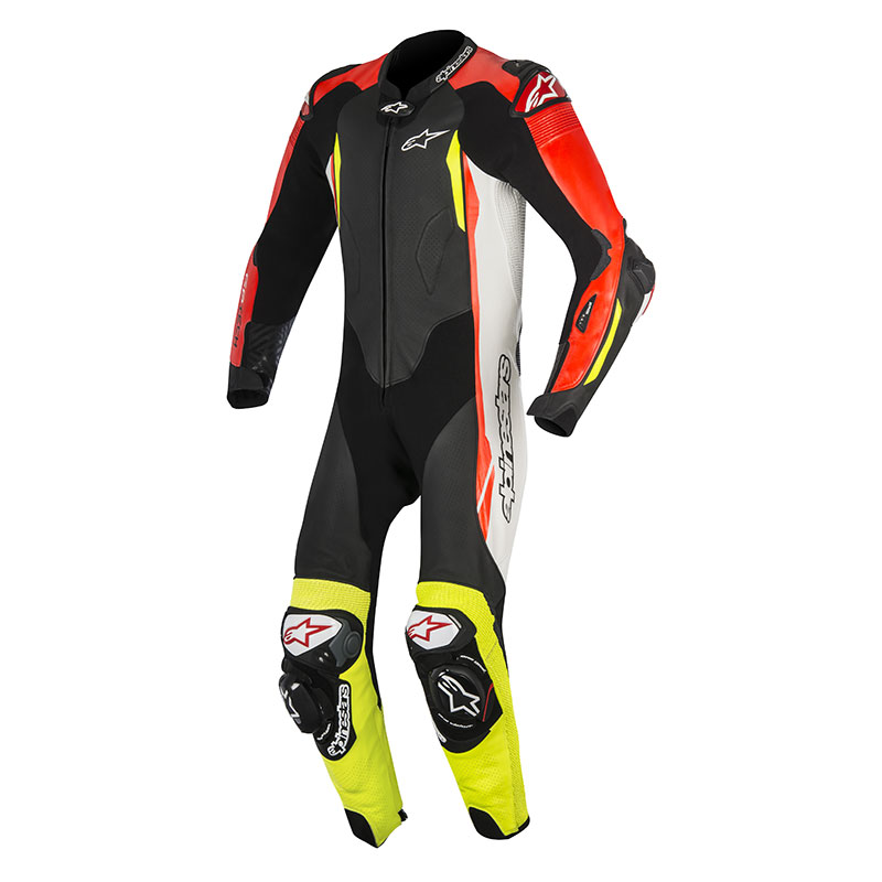 alpinestars gp tech v2 tuta 1pc tech air compatible nero bianco rosso fluo giallo fluo. Black Bedroom Furniture Sets. Home Design Ideas