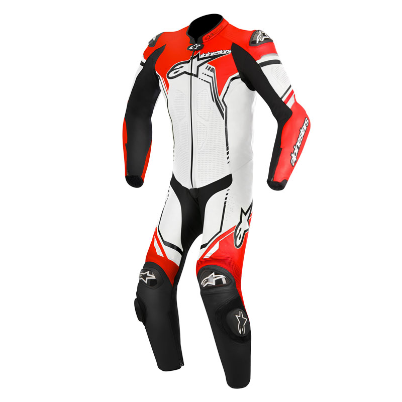 alpinestars gp plus suit 1pc white black red fluo motostorm. Black Bedroom Furniture Sets. Home Design Ideas