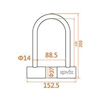 Kovix Ktl14-150 U-lock Black