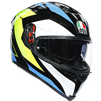 Agv K5 S Core Helmet Black Cyan Yellow Fluo
