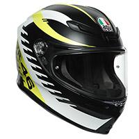 Agv K6 Rapid 46 Helmet Black Matt White Yellow