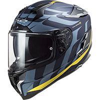 Ls2 Ff327 Challenger Carbon Flames Helmet Blue Gold