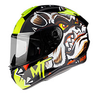 Casco Integrale Mt Helmets Targo Crazy Dog G3 Giallo