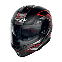 Nolan N80.8 Thunderbolt N-com Rosso Nero Opaco