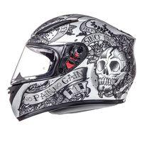 Mt Helmets Revenge Skull & Rose Silver Black