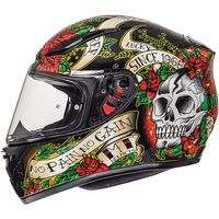 Mt Helmets Revenge Skull & Rose Black Red