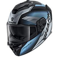 シャークスパルタンGTムースフードヘルメット シルバーブルー