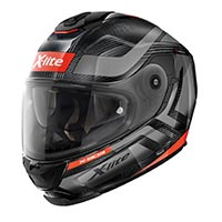 X-lite X-903 Ultra Carbon Airborne N-com Full Face Helmet Black Fluo Red
