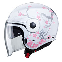 Casco Caberg Uptown Bloom Bianco Argento Rosa Donna