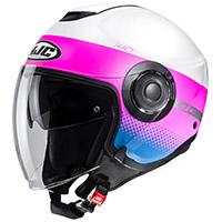 Hjc I40 Unova Helmet White Pink Blue