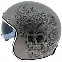 Mt Helmets Le Mans 2 Sv Skull & Roses A2 Grigio