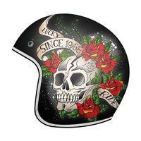 マウントヘルメットルマン 2 Sv スカル & ローズ A1 ブラック