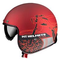 Mt Helmets Le Mans 2 Sv Cafè Racer B5 rojo opaco