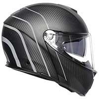Agv Sportmodular Refractive Helmet Carbon Silver