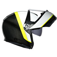 Agv Sportmodular Ray Carbon White Yellow Fluo