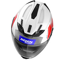 Nolan N70.2 Gt Celeres N-com Blue Red Metal White