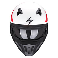 Casco Scorpion Covert X T-Rust blanco rojo