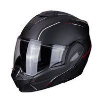 Modular Helmet Scorpion Exo Tech Time Off Matt Black Red