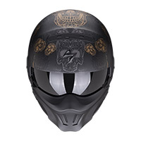 Casco Scorpion Exo Combat Evo Kalavera Nero Oro