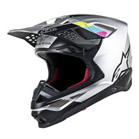 Casco Cross Alpinestars S-m8 Contact Argento