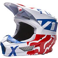 Fox V1 Skew Helmet White Red Blue
