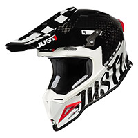 Casque Just-1 J12 Pro Racer Noir Carbone Blanc