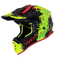 Just-1 J38 Mask Helmet Yellow Fluo Red Black Matt