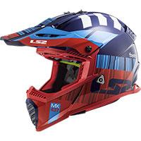 Casco LS2 MX437 Fast Evo XCode rojo azul