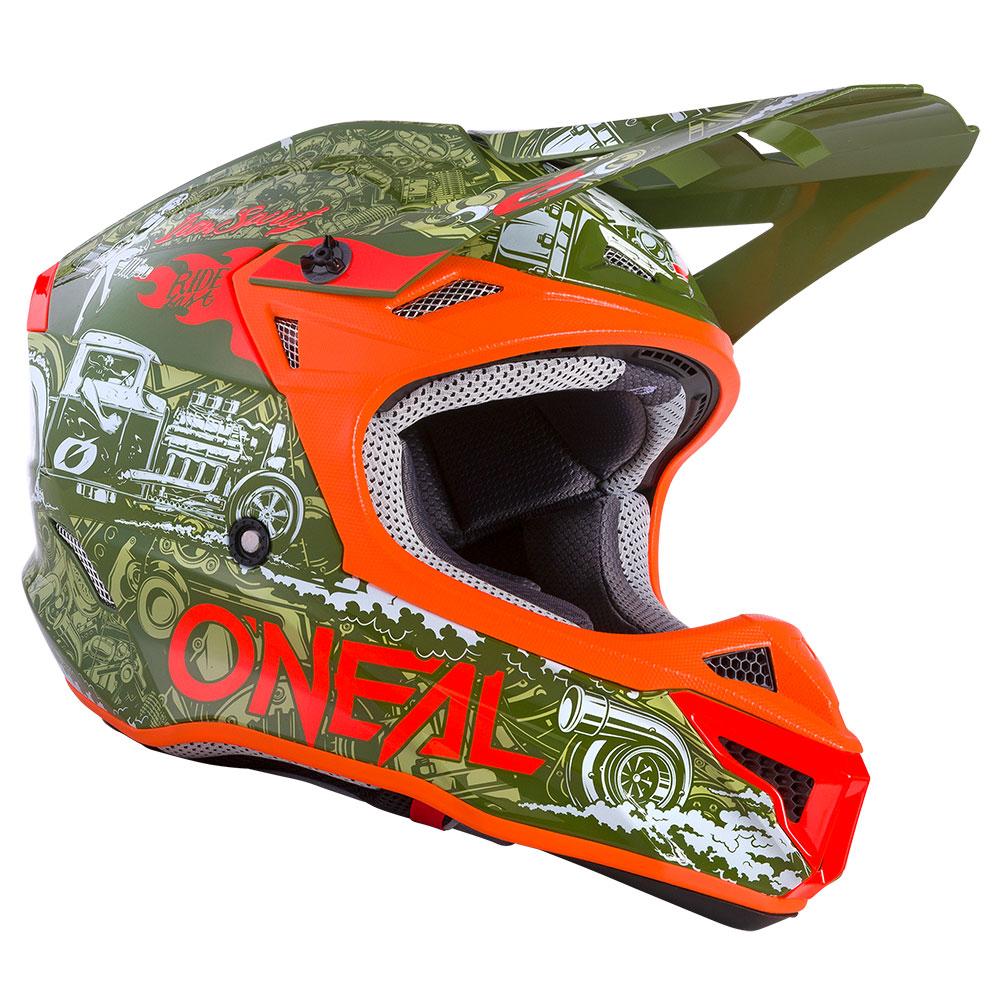 Casco O'neal 5srs Polyacrylite Hr Verde Arancio