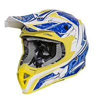 Premier Exige Qx Y casco amarillo azul blanco