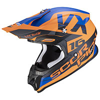 Casco Scorpion Vx-16 X Turn naranja azul