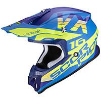 Casco Scorpion Vx-16 X Turn Blu Giallo Fluo