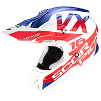 Casco Scorpion Vx-16 X Turn blanco rojo