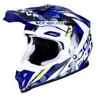 Casco Off Road Scorpion Vx-16 Waka Bianco Blu