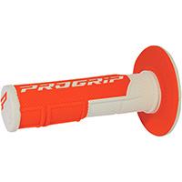 Manopole Progrip 801 Dd Closed End Bianco Arancio Fluo