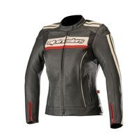 Alpinestars Stella Dyno V2 Leather Jacket Black Stone Red Lady